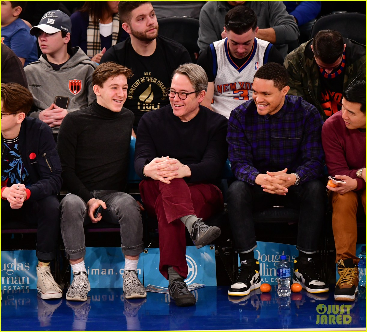 matthew broderick sits courtside at knicks game with son james wilkie 03