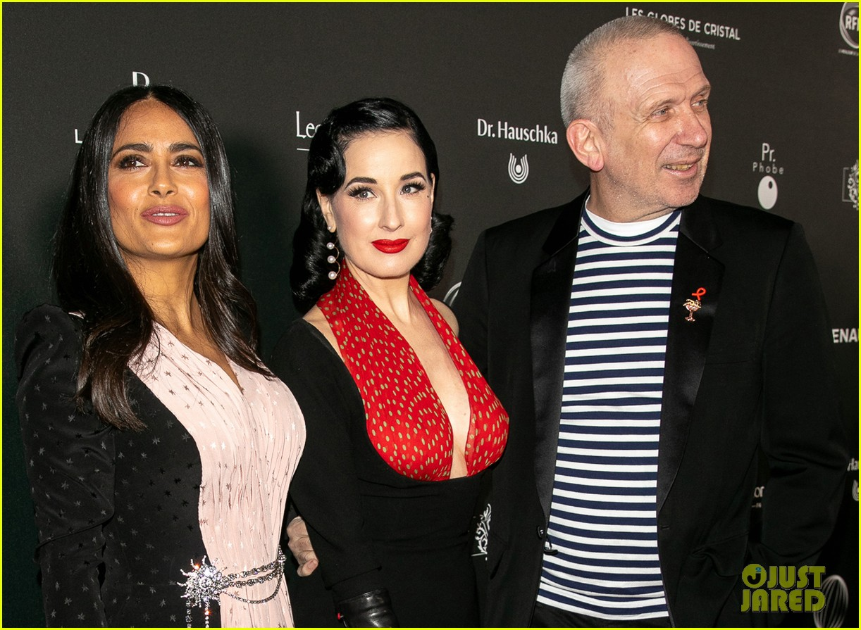 salma hayek attends globe de cristal ceremony after showing off white hair 024223434