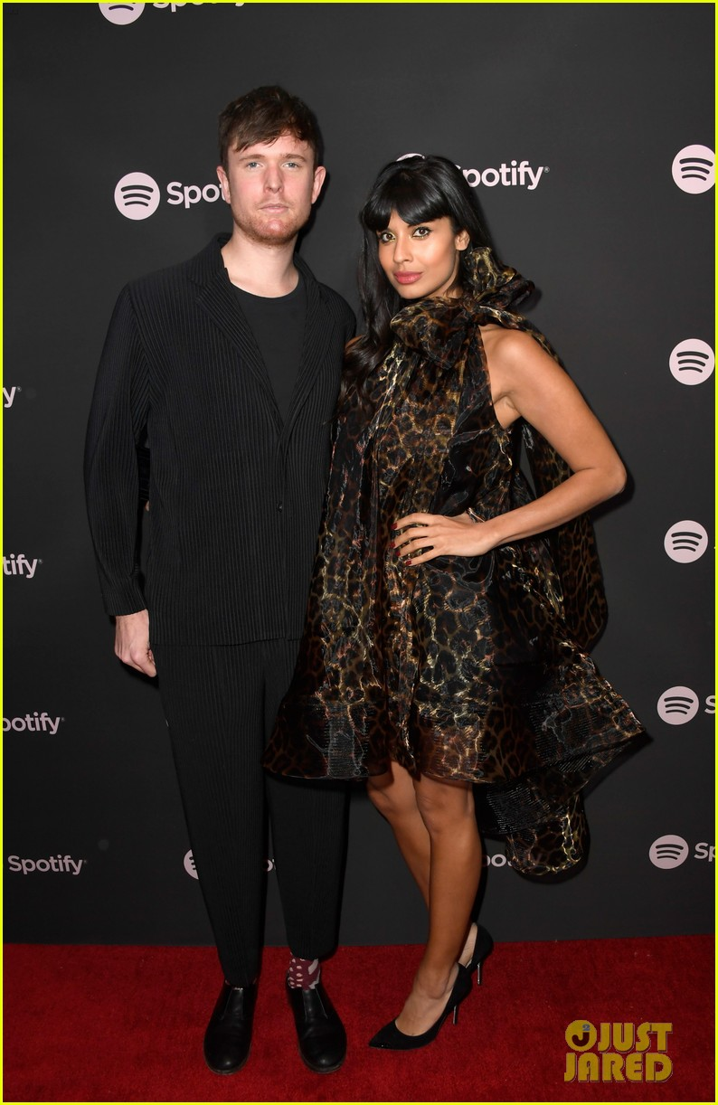 james blake jameela jamil couple up at spotify pre grammy party 054225935