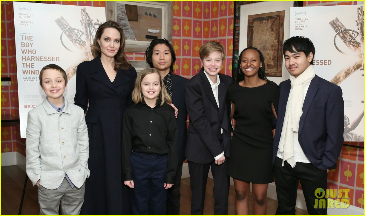 angelina jolie hosts screening with all six children 104248135