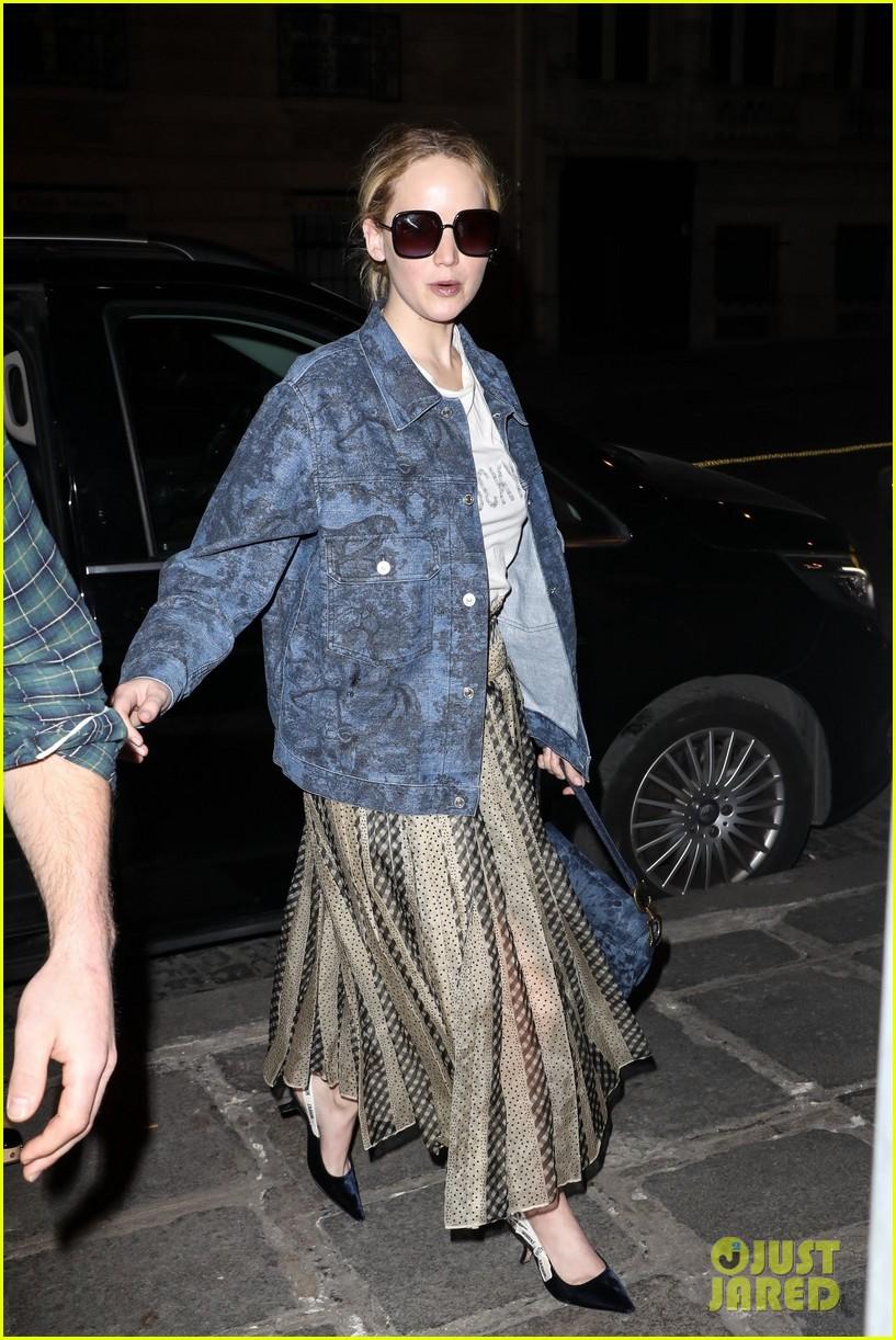 jennifer lawrence dons printed jacket and skirt during paris fashion week 054249024
