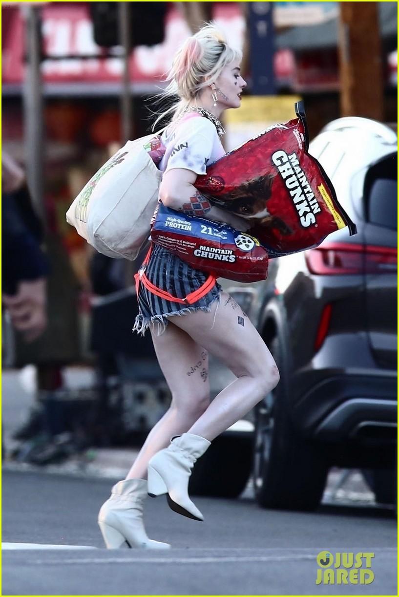 Margot Robbie Picks Up Dog Food As Harley Quinn On The Set Of Birds Of Prey Photo 4242285 Birds Of Prey Margot Robbie Mary Elizabeth Winstead Pictures Just Jared