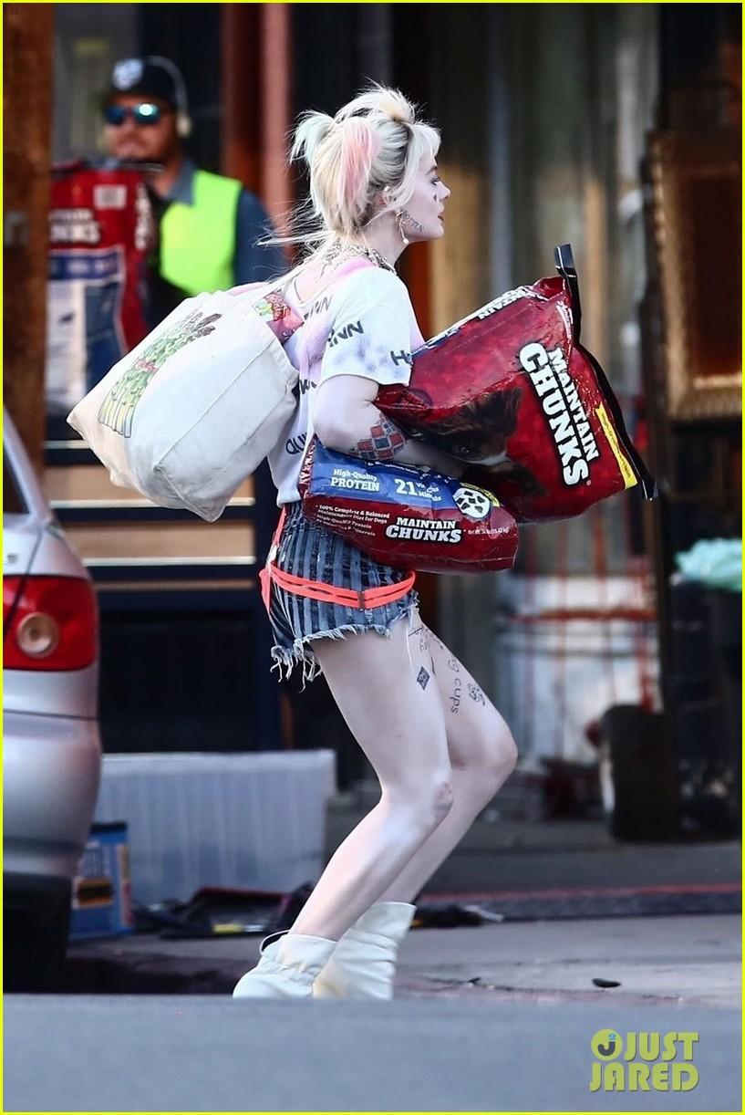 Margot Robbie Picks Up Dog Food As Harley Quinn On The Set Of Birds Of Prey Photo 4242288 Birds Of Prey Margot Robbie Mary Elizabeth Winstead Pictures Just Jared