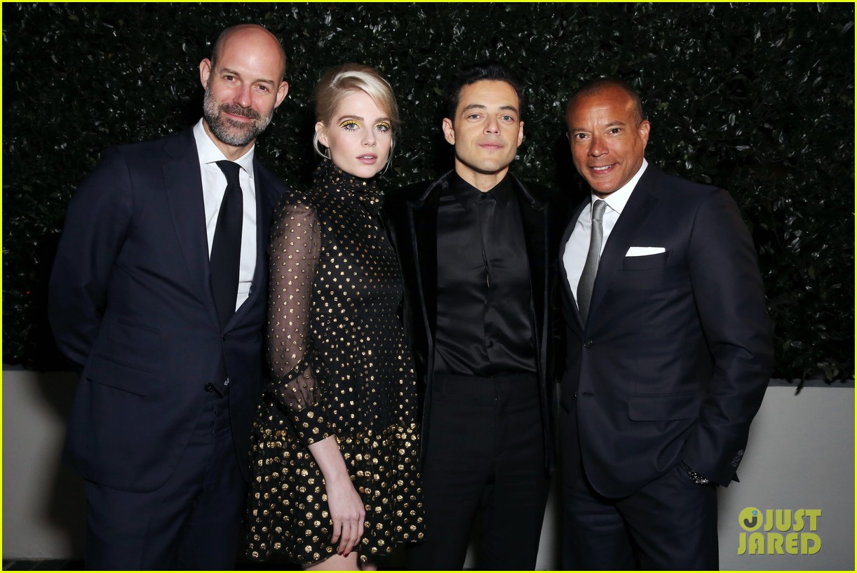rami malek lucy boynton couple up vanity fair bohemian rhapsody event 054243038