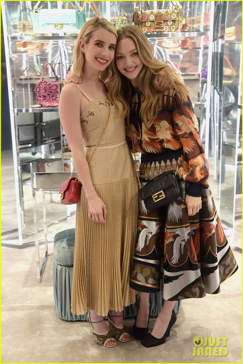emma roberts amanda seyfried step out for fendi event in nyc 03