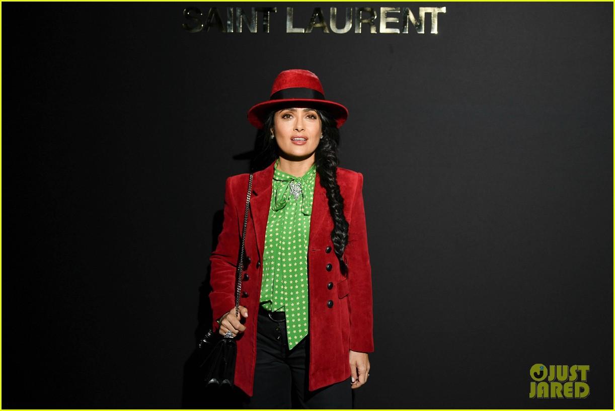 salma hayek joins matt dillon felicity jones saint laurant show paris 10