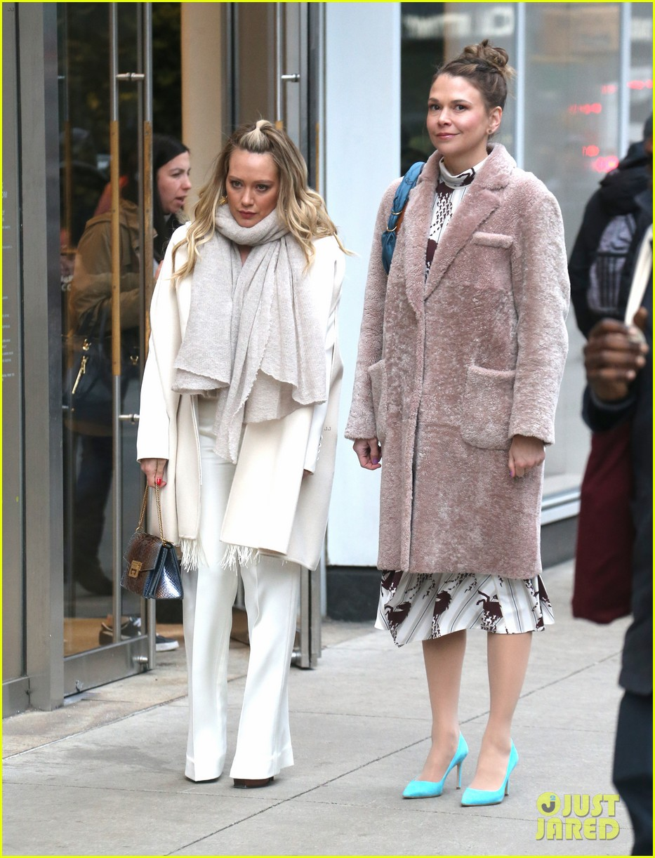 hilary duff sutton foster step out filming younger 054249070