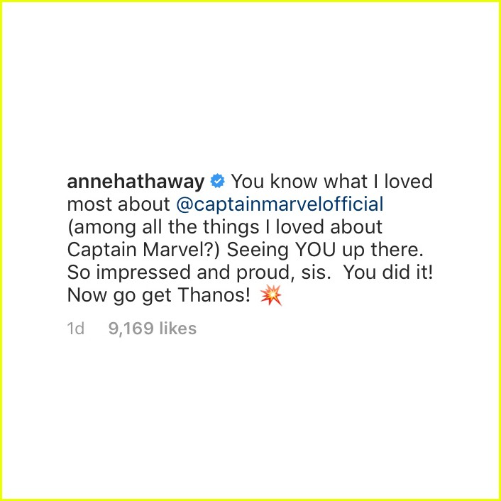 anne hathaway comment on brie larsons instagram 01