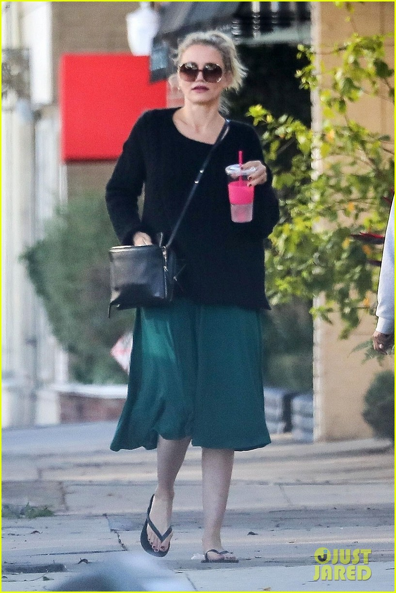 cameron diaz rocks jade green dress for spa day in weho 02