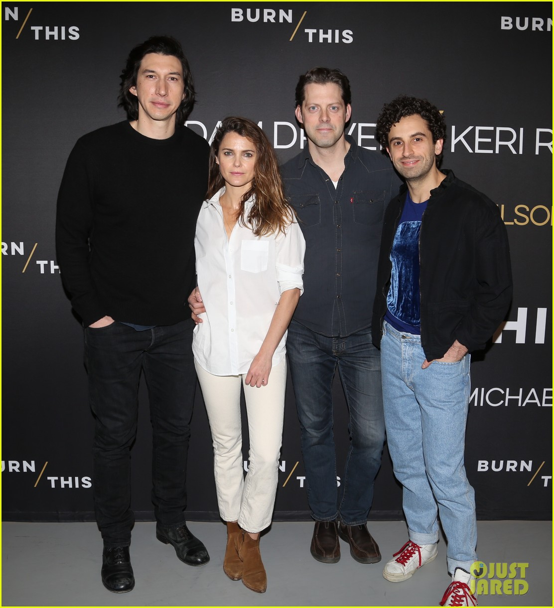 adam driver keri russell join burn this broadway cast at nyc photo call 024253177