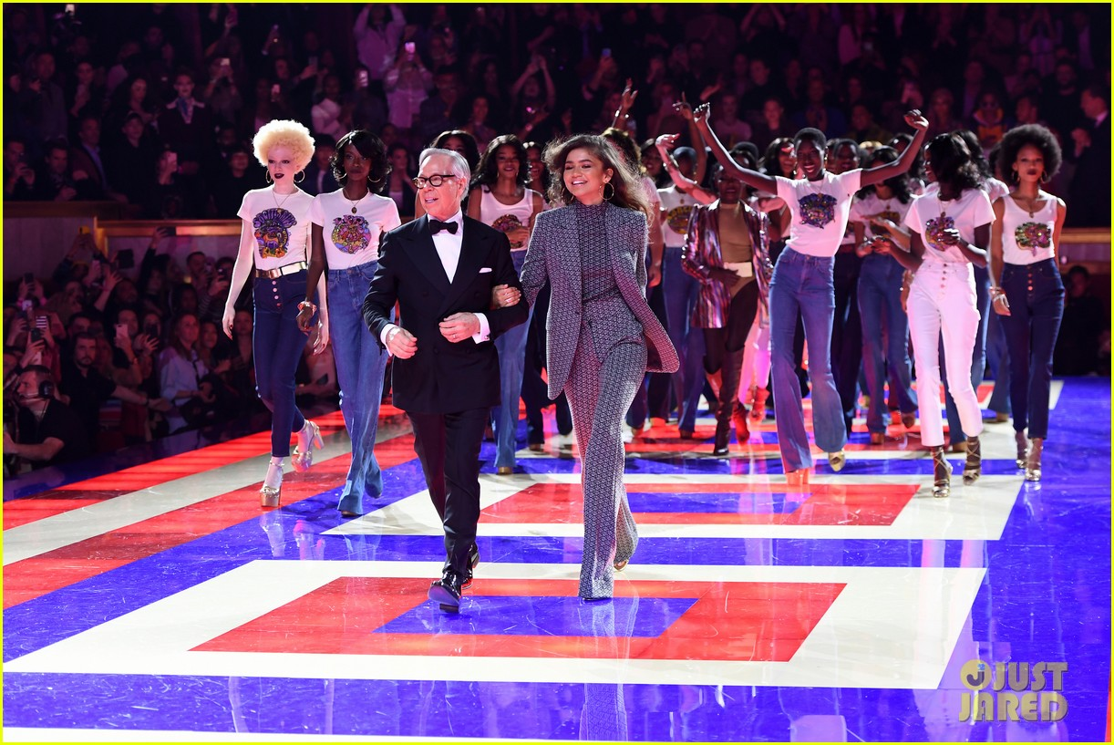 zendaya supported by gigi hadid tommy hilfiger show 264250565