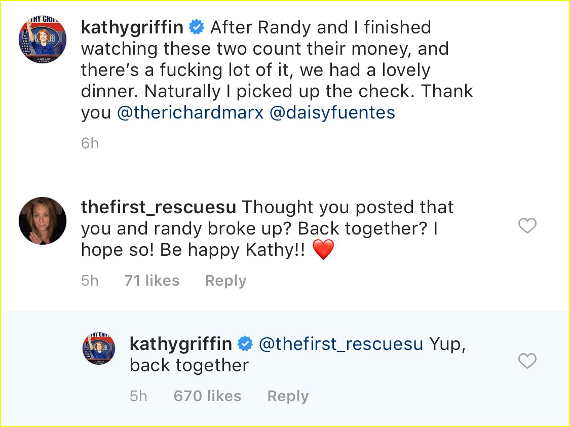 Kathy Griffin Confirms She & Randy Bick are Back Together