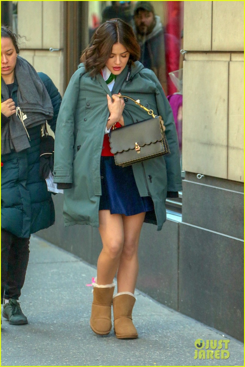 lucy hale pink red looks katy keene set 05