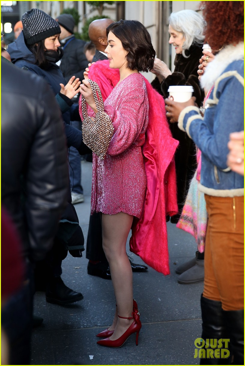 lucy hale pink red looks katy keene set 07