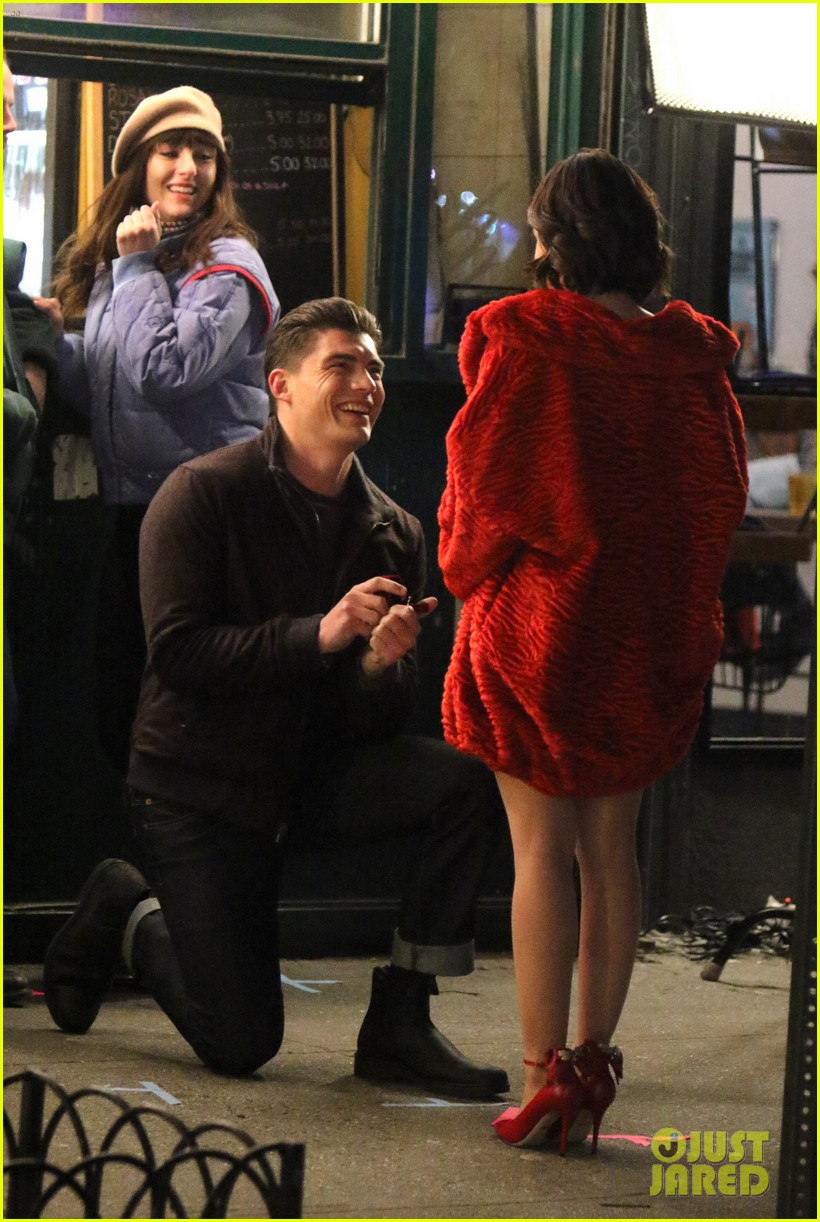lucy hale films a proposal scene for katy keene 01