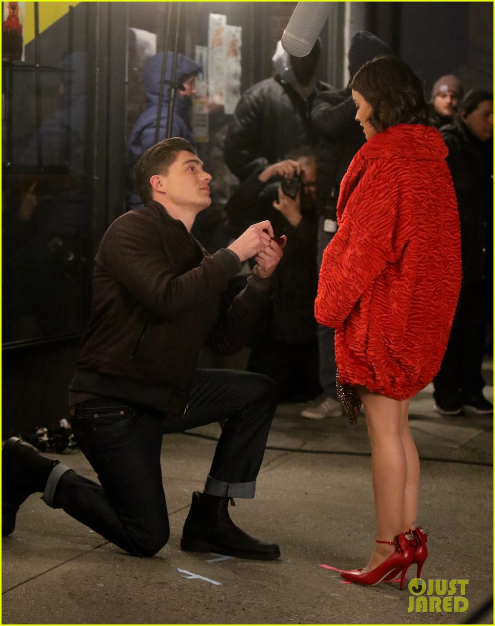 lucy hale films a proposal scene for katy keene 03