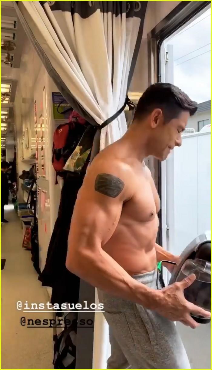 mark consuelos shirtless on kj apa instagram 04
