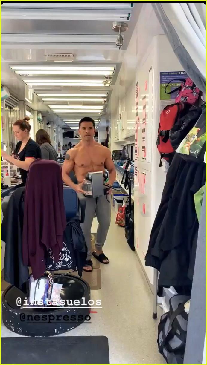 mark consuelos shirtless on kj apa instagram 05