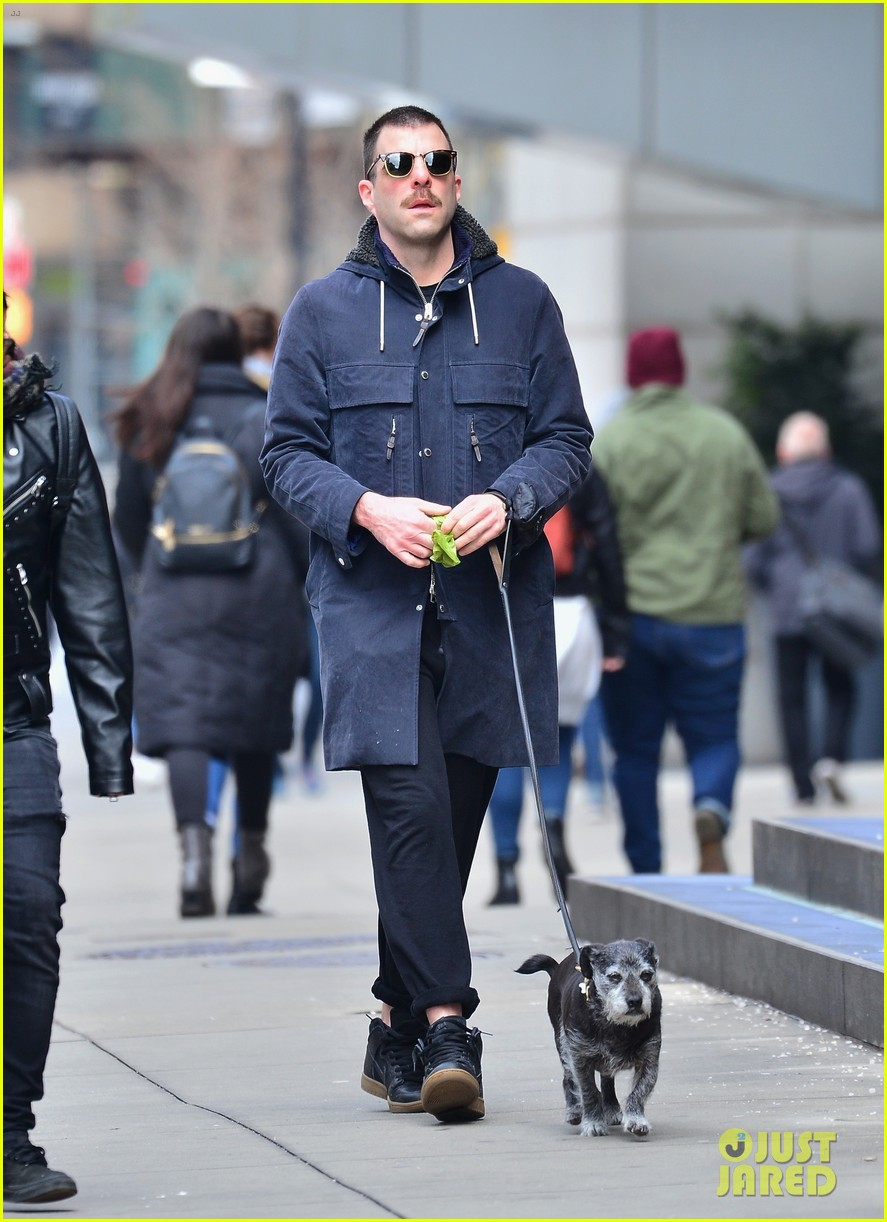 zachary quinto takes dog for a walk 01
