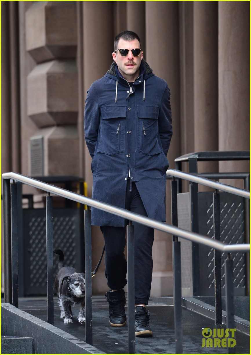 zachary quinto takes dog for a walk 03