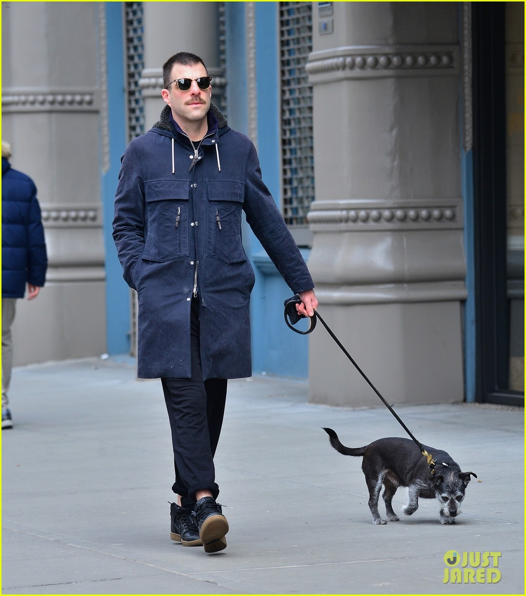 zachary quinto takes dog for a walk 05