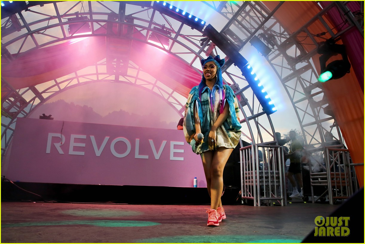 cardi b hits the stage at revolve party at coachella 084273144