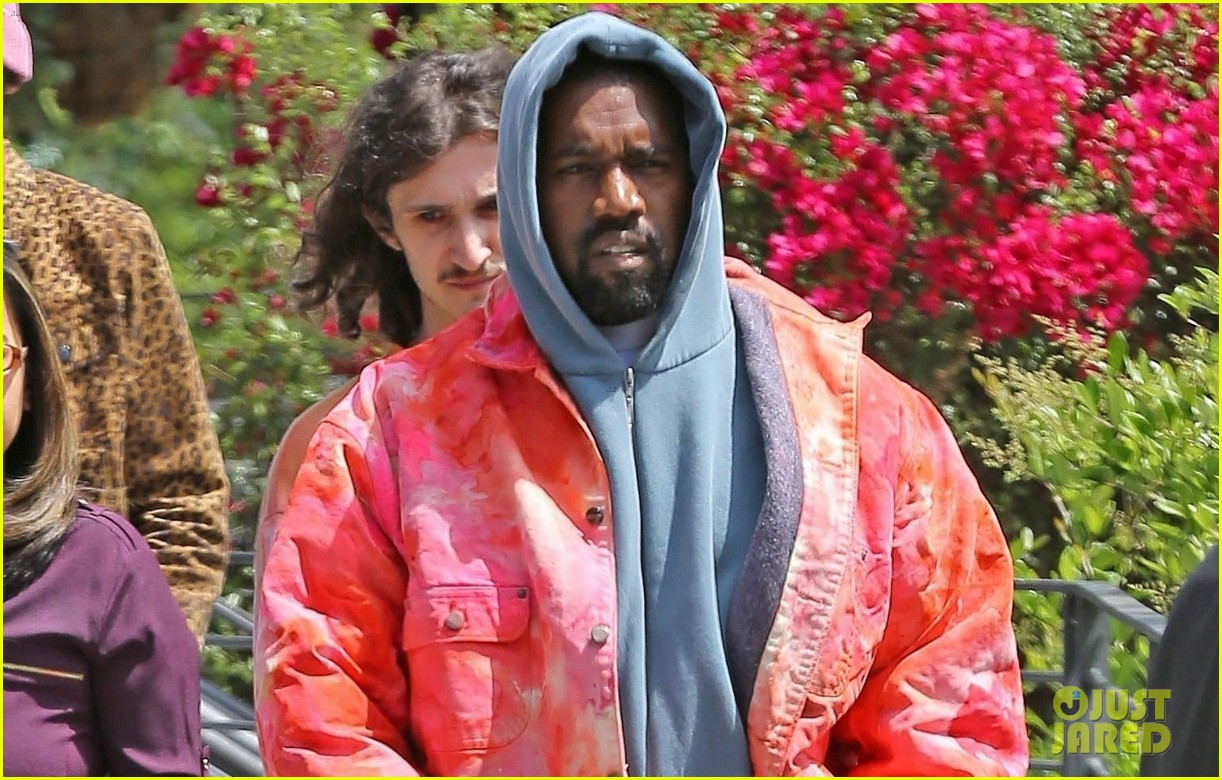kanye west rocks tie dye while leaving the office 03