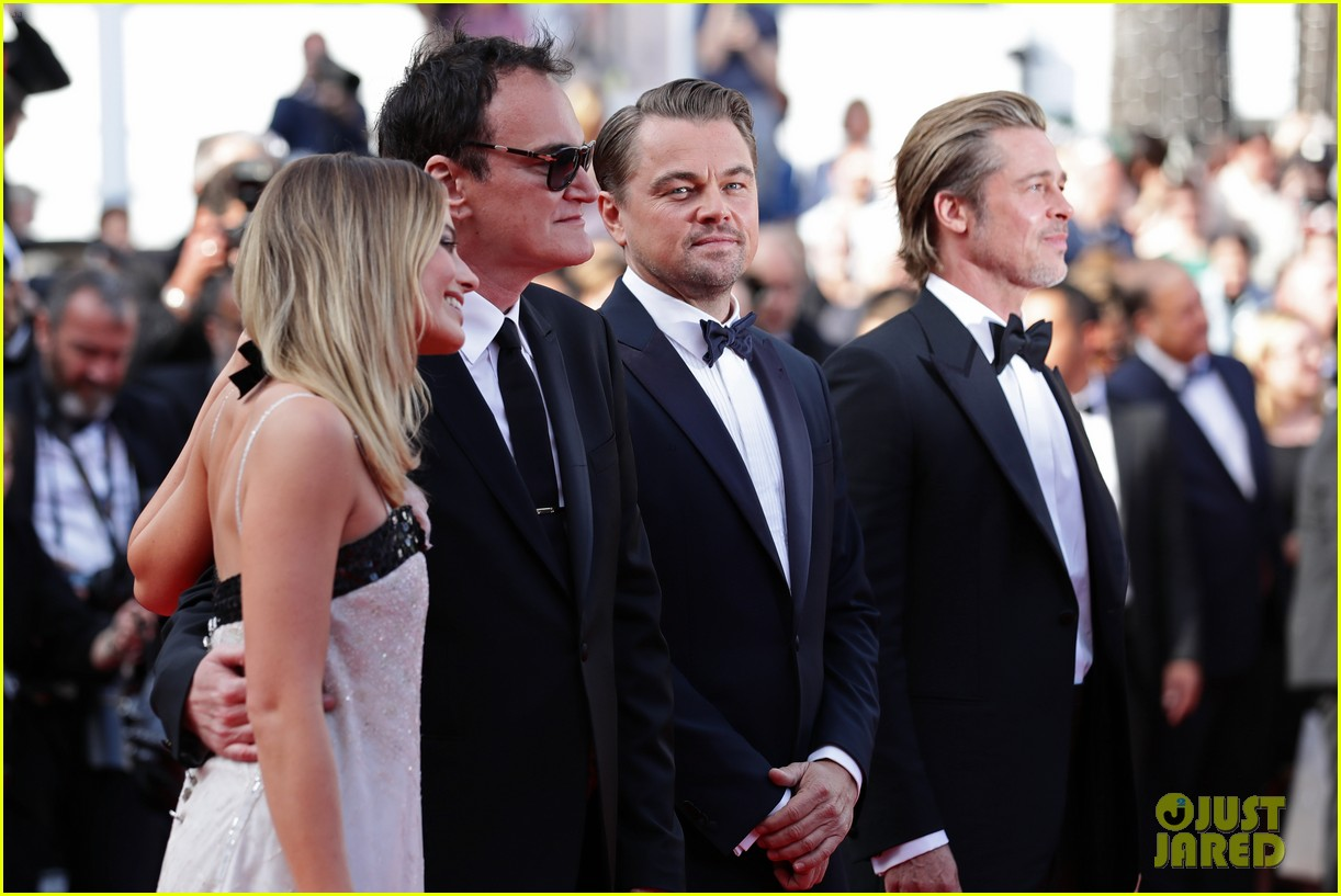 leonardo dicaprio brad pitt margot robbie hit cannes for once upon a time in hollywood 134295889