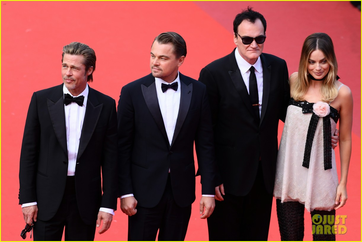 leonardo dicaprio brad pitt margot robbie hit cannes for once upon a time in hollywood 464295922