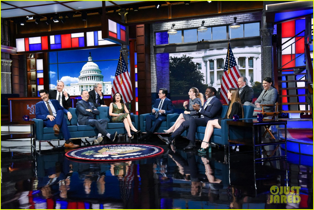 stephen colbert tells veep cast to stop destroying america in late show crossover 044289180
