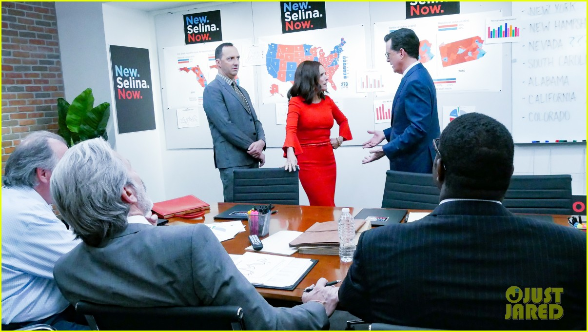 stephen colbert tells veep cast to stop destroying america in late show crossover 104289186