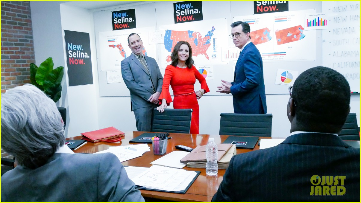 stephen colbert tells veep cast to stop destroying america in late show crossover 124289188