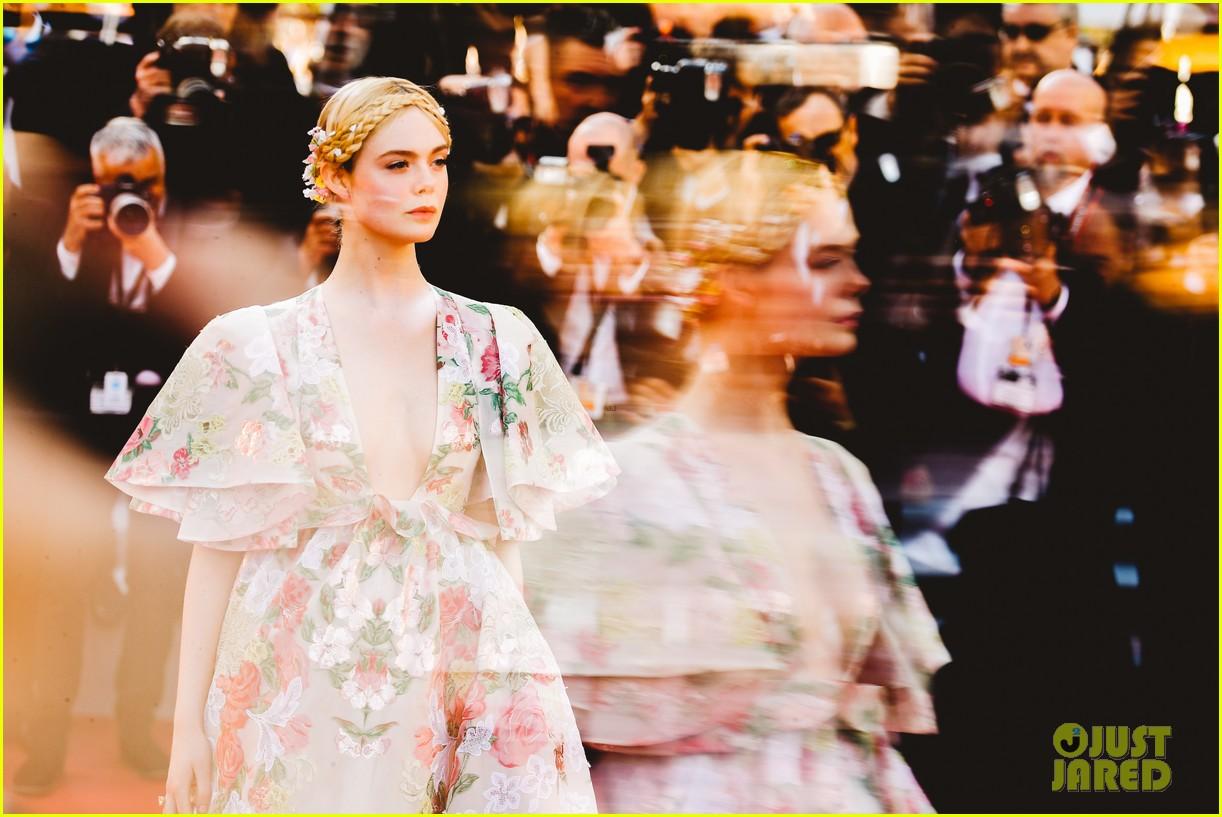 elle fanning floral gown cannes les mis premiere 074291862