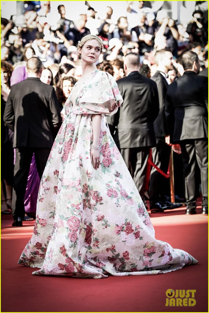 elle fanning floral gown cannes les mis premiere 114291866