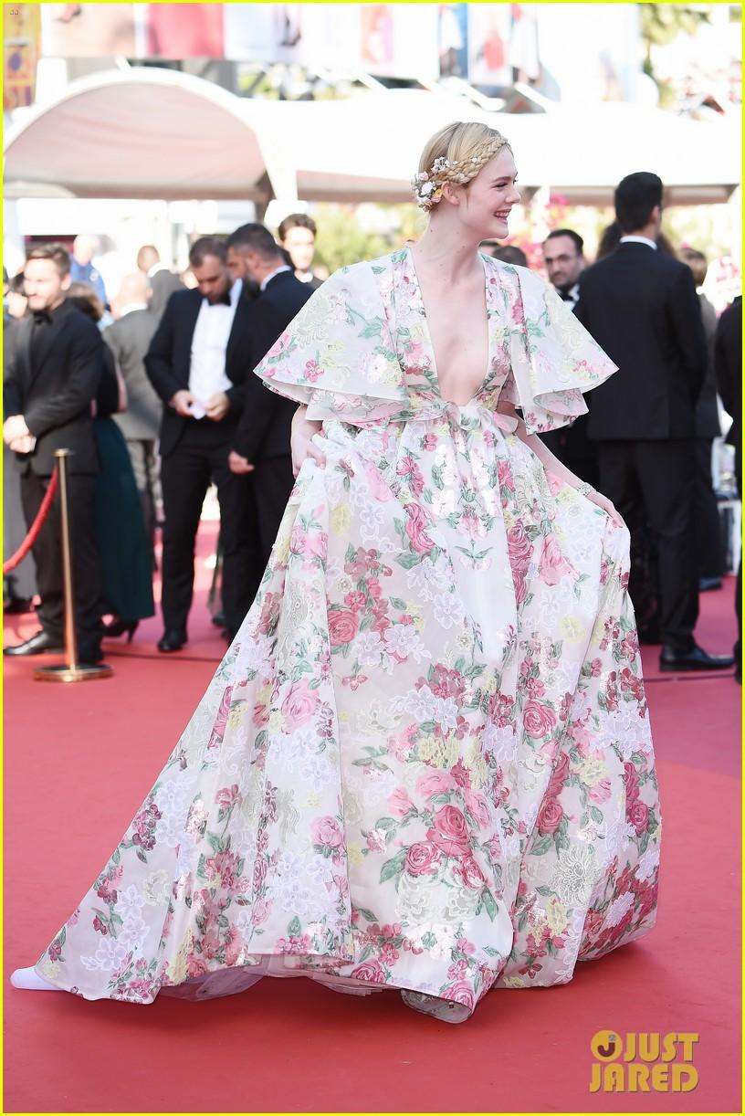 elle fanning floral gown cannes les mis premiere 124291867