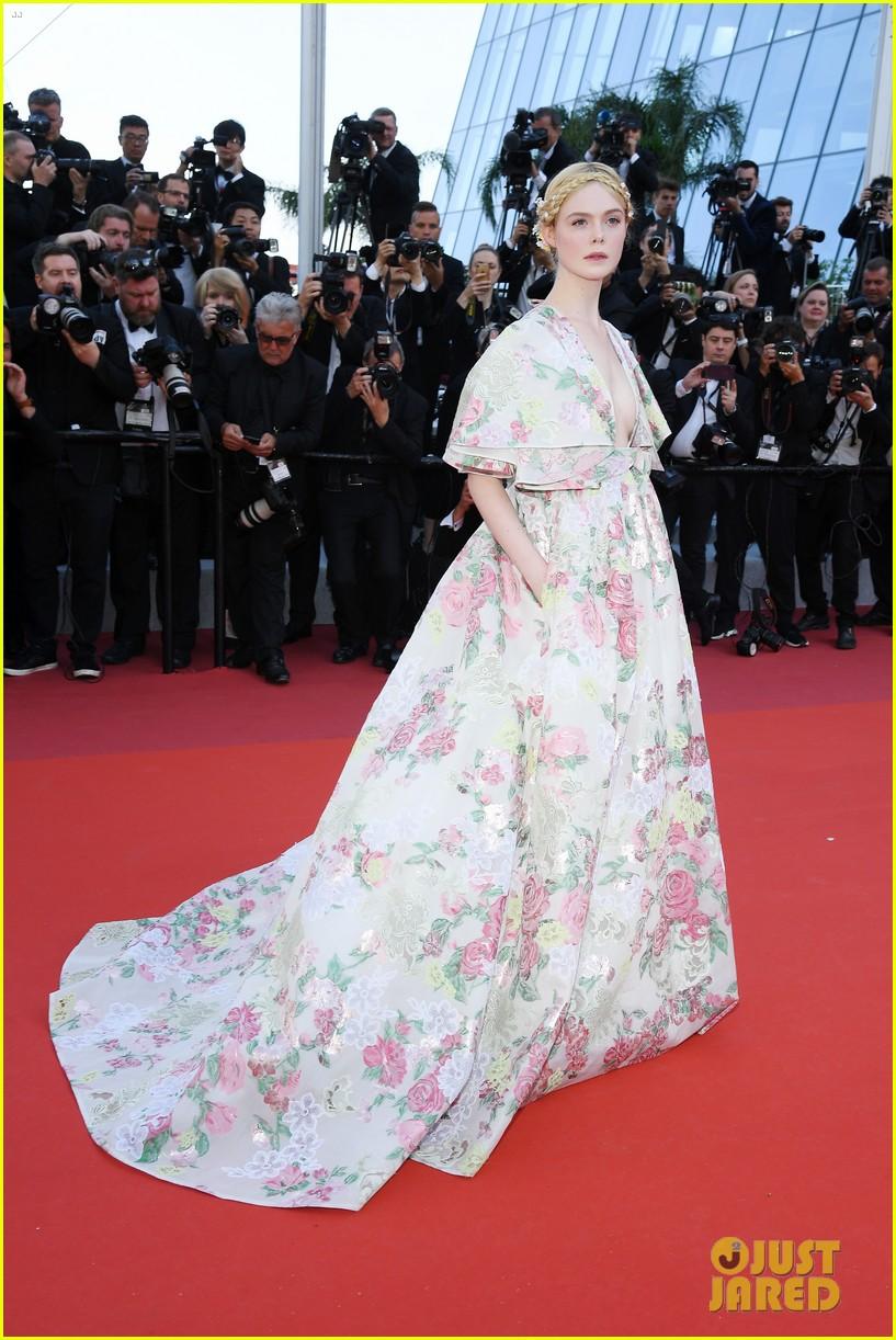 elle fanning floral gown cannes les mis premiere 144291869