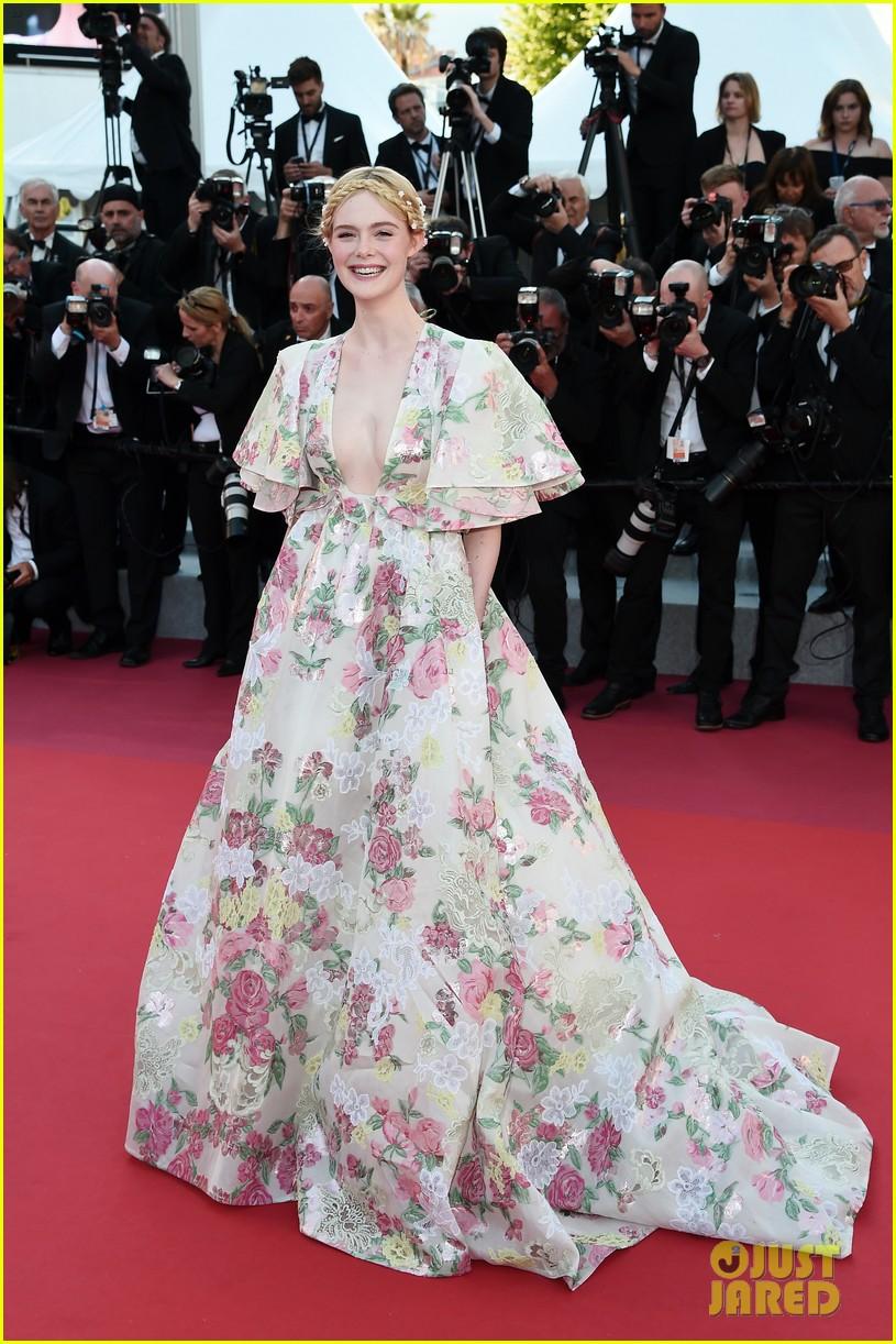 elle fanning floral gown cannes les mis premiere 164291871