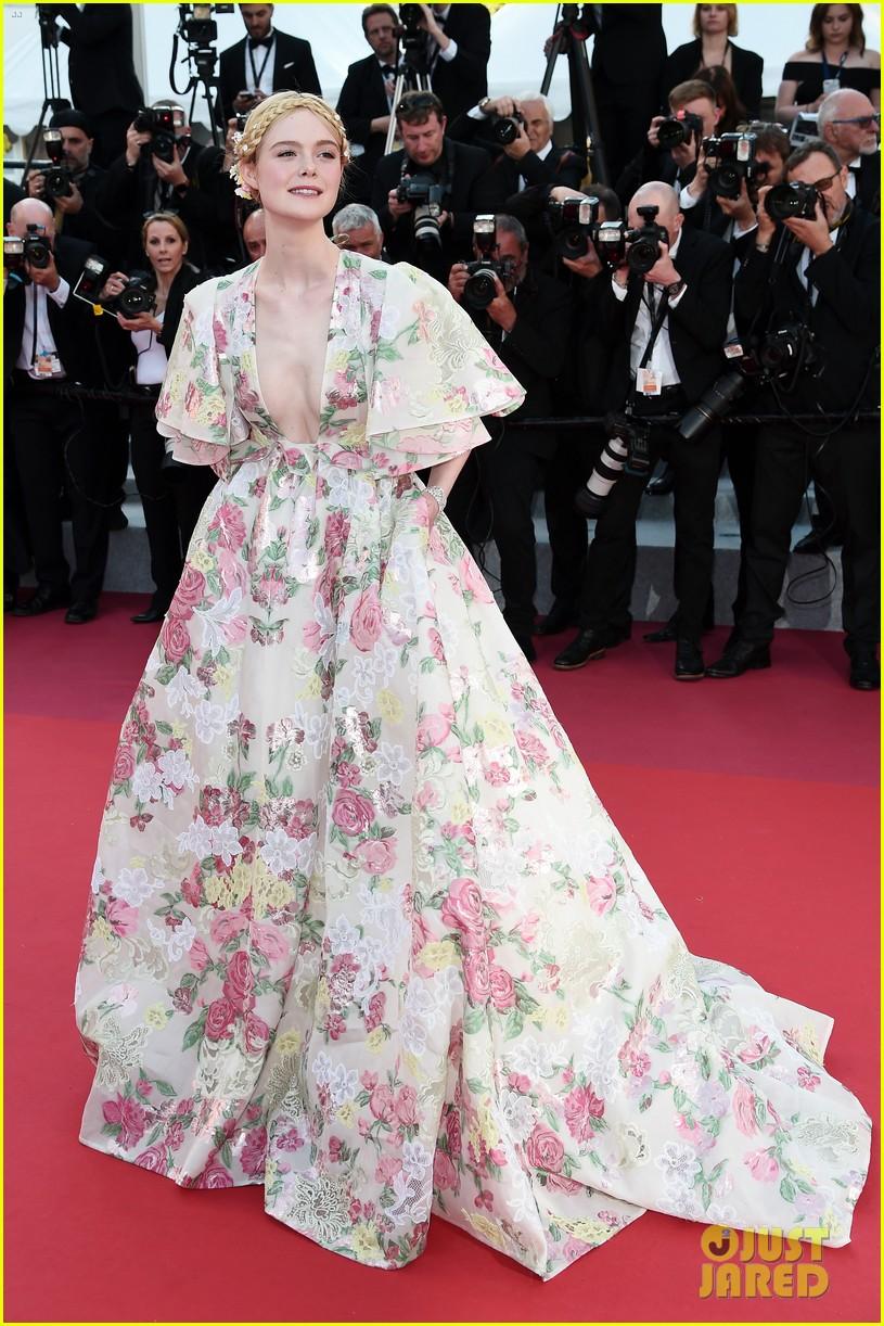 elle fanning floral gown cannes les mis premiere 174291872