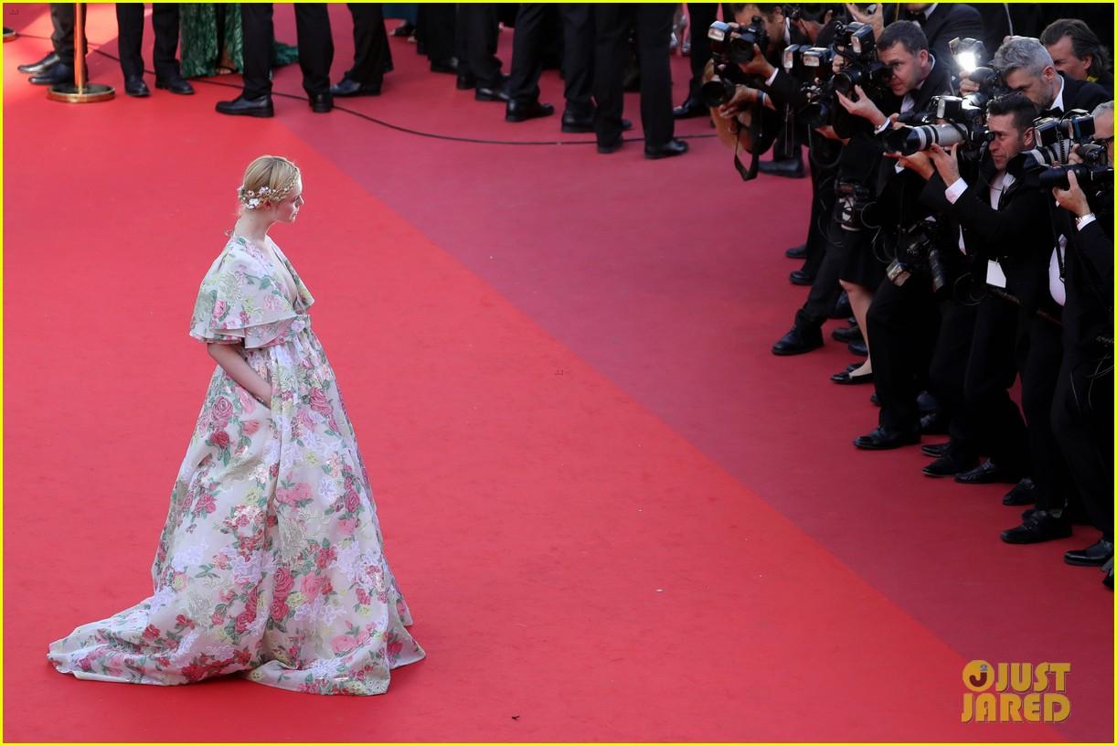 elle fanning floral gown cannes les mis premiere 194291874