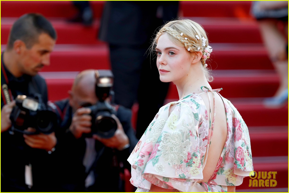 elle fanning floral gown cannes les mis premiere 214291876