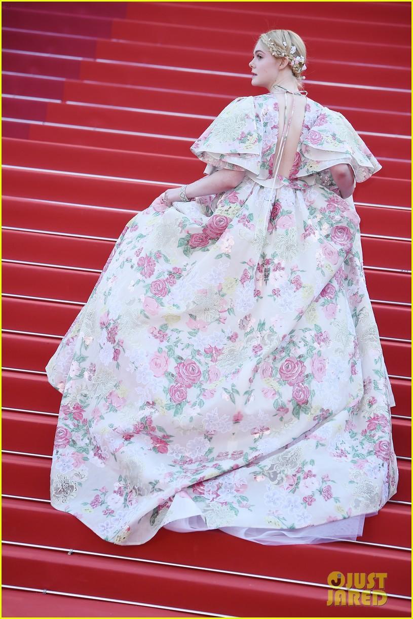 elle fanning floral gown cannes les mis premiere 254291880