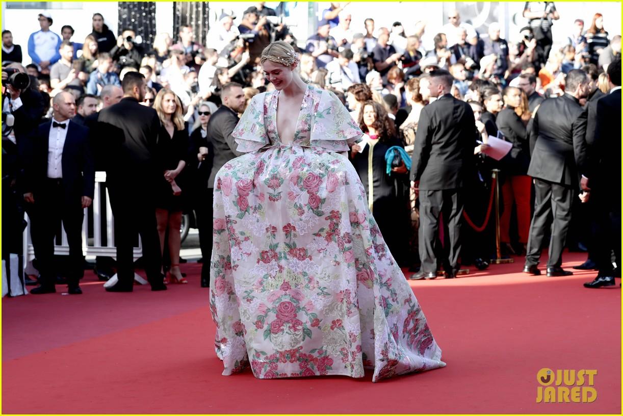 elle fanning floral gown cannes les mis premiere 264291881