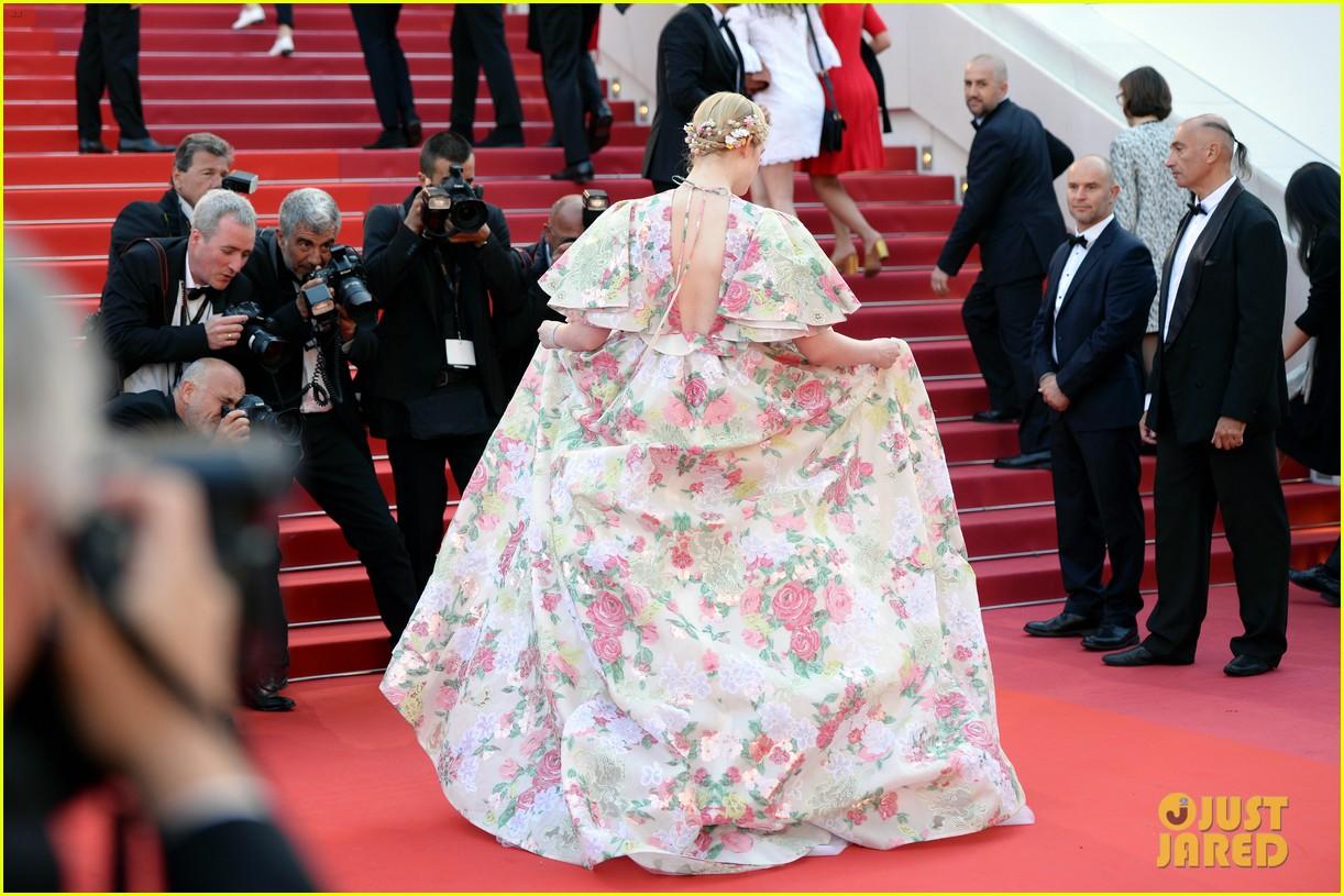 elle fanning floral gown cannes les mis premiere 274291882