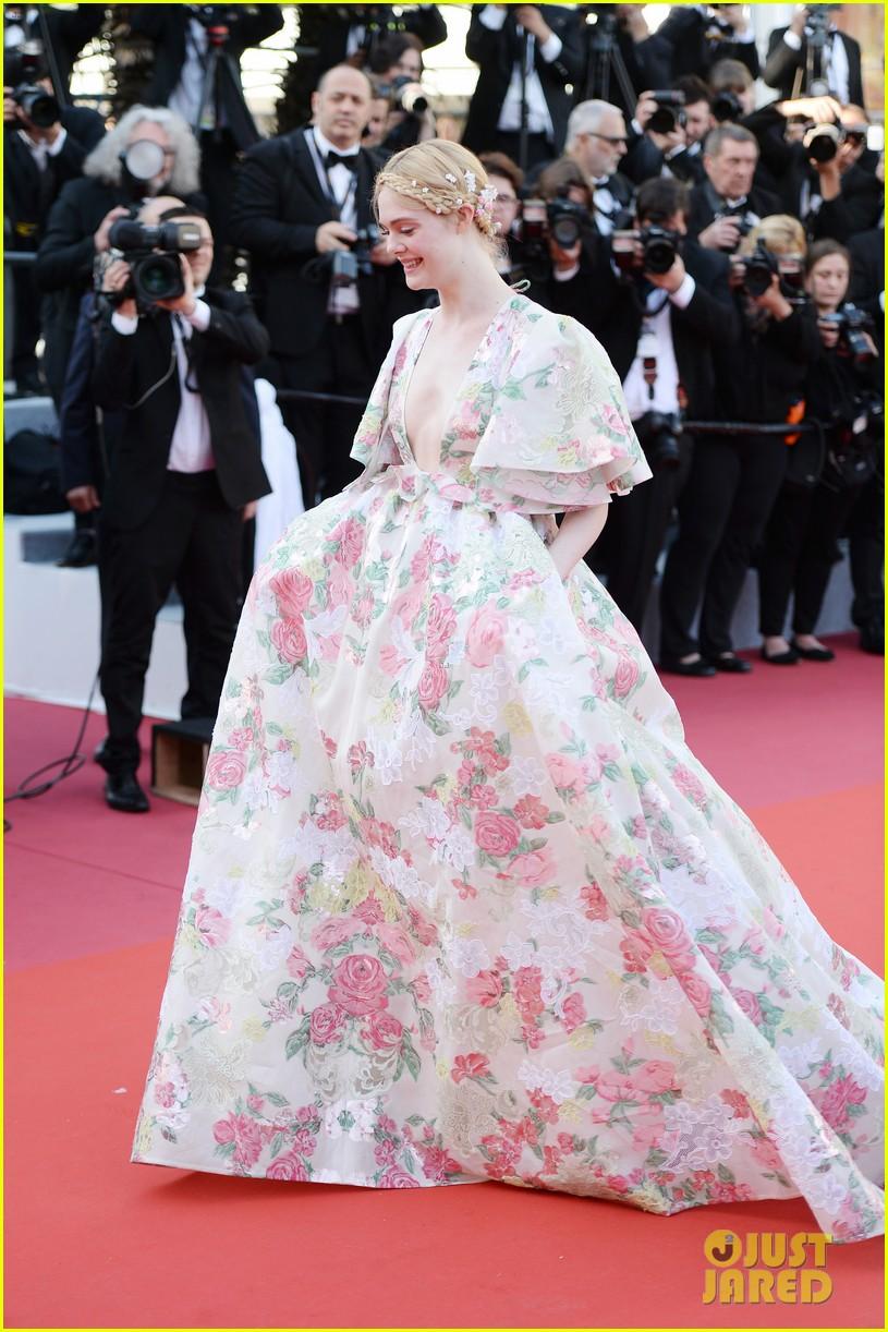 elle fanning floral gown cannes les mis premiere 304291885