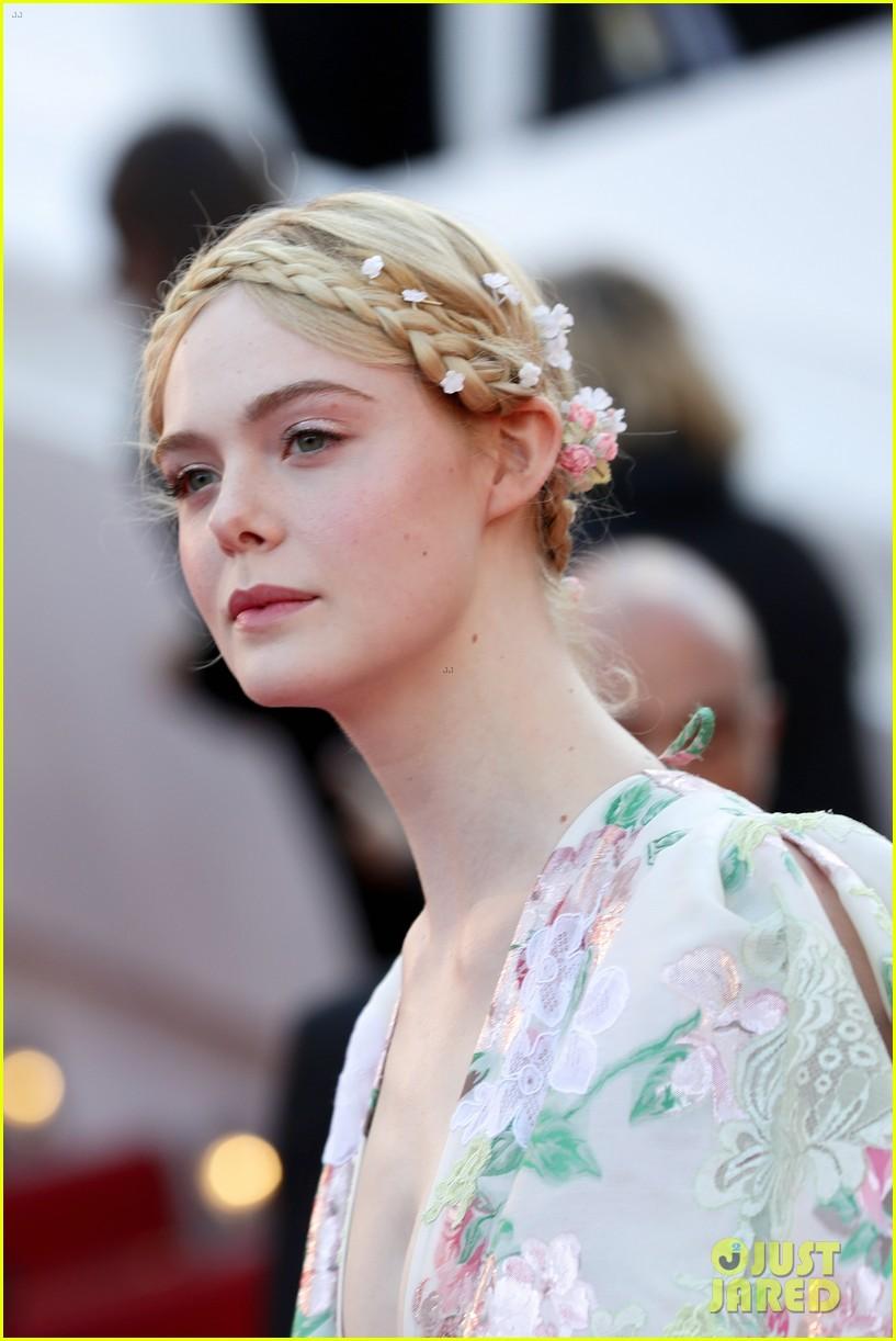 elle fanning floral gown cannes les mis premiere 334291888