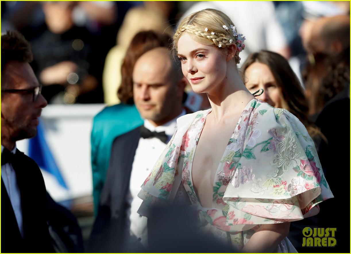 elle fanning floral gown cannes les mis premiere 344291889