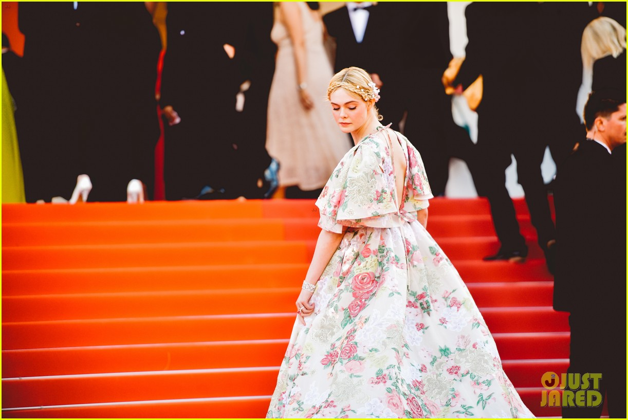 elle fanning floral gown cannes les mis premiere 354291890