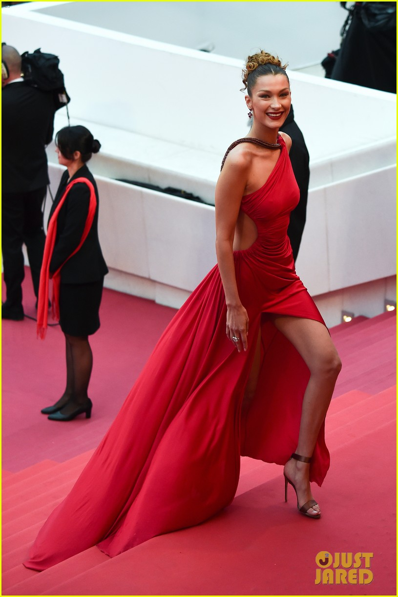Bella Hadid Sizzles In Red Dress At Cannes Film Festival