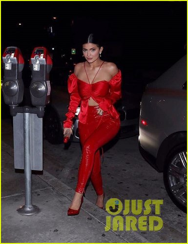 kylie jenner red leather pants catch la 03