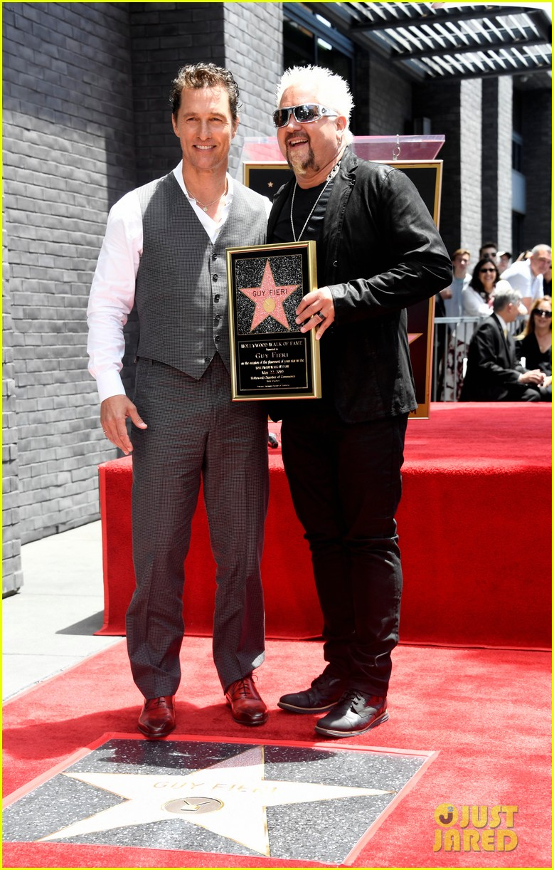 matthew mcconaughey helps present guy fieri with star on hollywood walk of fame 02